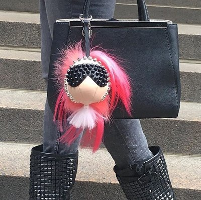 Fendi 7AR492 Karlito Studded Charm for Handbag 老佛爺卯釘吊飾 紅 現貨