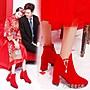 全店折扣活動 中式婚鞋女紅色新娘鞋高跟粗跟...
