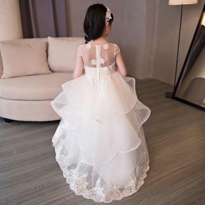 艾琳婚紗禮服~060327-7韓版兒童公主裙花童婚纱蓬蓬裙拖尾白色鋼琴演出服禮服~3件以上免運
