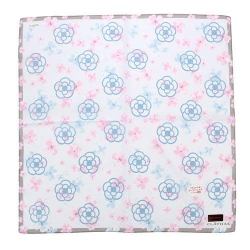 【姊只賣真貨】CLATHAS 日本經典滿版山茶花純綿領巾手帕(粉紅、水藍)