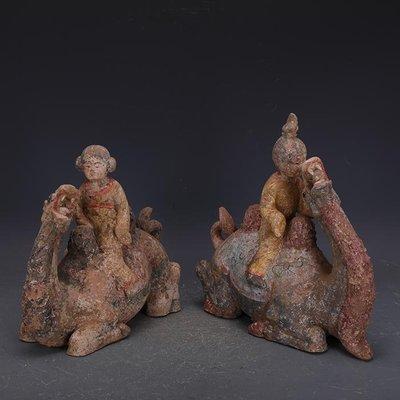 【三顧茅廬】唐代彩陶雕塑駝上人駱駝一對 出土文物古瓷器古玩古董收藏品
