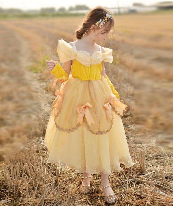 紫滕戀推出ins秋冬童裙貝兒公主中大童兒童禮服裙女童連衣裙美女與野獸