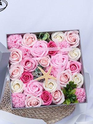 粉紅色24朵玫瑰花肥皂方形禮盒 (F0006)