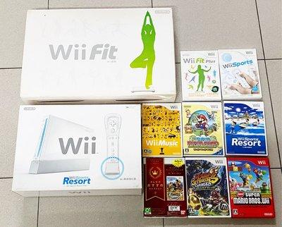 任天堂 Nintendo Wii 主機 (台灣博優公司貨,無改機)、手把組(動感強化版)*2、遊戲*8、Wii Fit 健身踏板*1