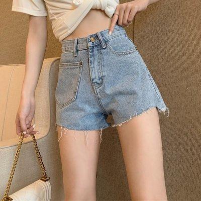 2020新款韓版時尚個性顯瘦寬松高腰a字闊腿熱褲春夏百搭牛仔短褲