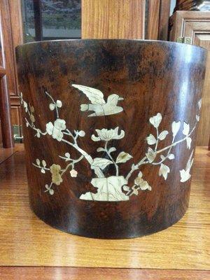 (收購黃花梨家具)花梨鑲貝筆筒  畫筒  古董  古美術  收藏