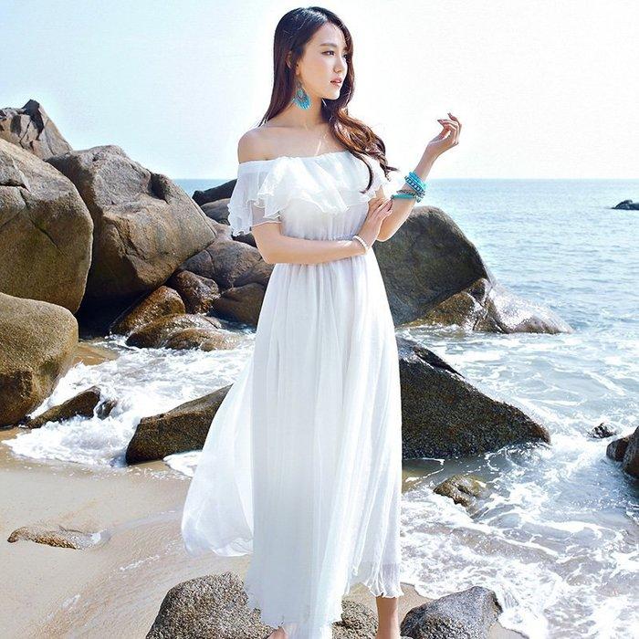 ♥韓 實拍 ♥ 連衣裙 白色沙灘裙E6056 海邊度假一字肩性感長裙