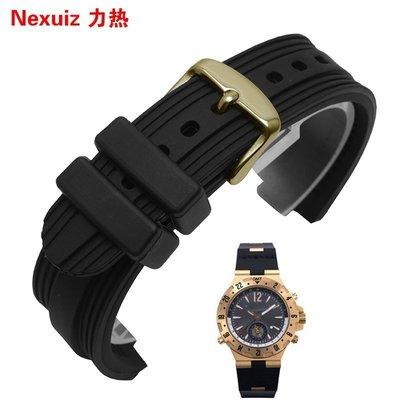 確信小鋪  力熱硅膠手表帶代用寶格麗 黑色針扣款凸口膠帶男橡膠22*7mm配件手錶配件 錶帶 =男女錶帶   鋼帶 帆布 嘉義市