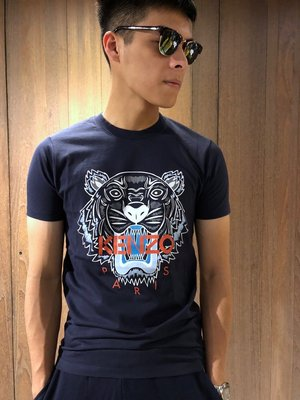 美國百分百【全新真品】KENZO 高田賢三 T恤 圓領 T-shirt 短袖 logo 虎頭 印圖 深藍 XS J070