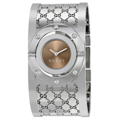 GUCCI YA112401 古馳 手錶 Twirl 33mm 鋼錶帶 雙G LOGO 手環 棕面盤 女錶