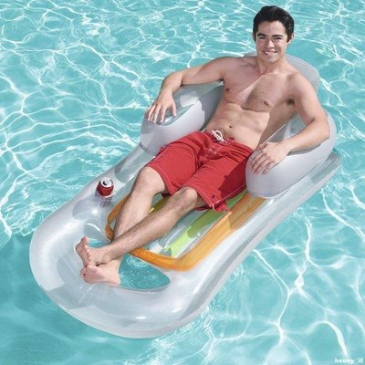 heavy°鋪 BESTWAY靠背躺椅單人浮排充氣浮床水床沙灘墊水上氣墊MKSGW125