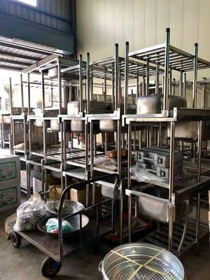 白鐵不銹鋼水槽/單槽簡易帶支架平臺洗手盆白鐵工作台/單槽流理台
