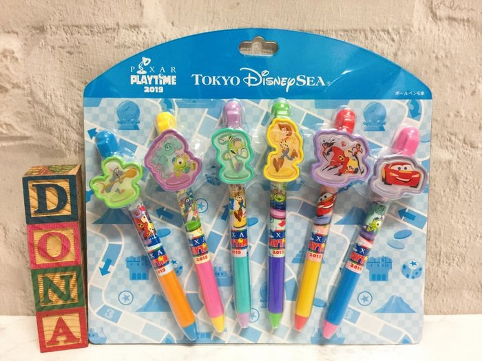 【Dona日貨】日本迪士尼樂園限定 玩具總動員怪獸大學料理鼠王汽車總動員Cars 原子筆/黑筆(1組6入) C13
