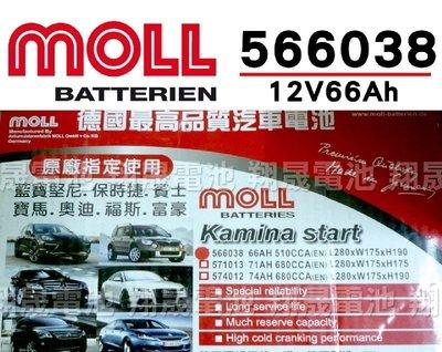 彰化員林翔晟電池/全新 德國莫爾MOLL 免加水汽車電池/56638(66AH)/舊品強制回收 安裝工資另計