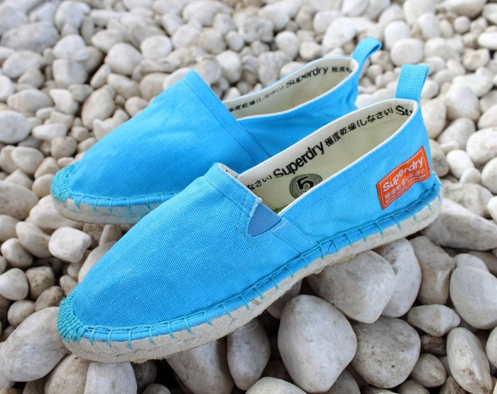INDiCE ↗ SuperDry Espadrille 彈性編織麻底帆布懶人女鞋 螢光藍