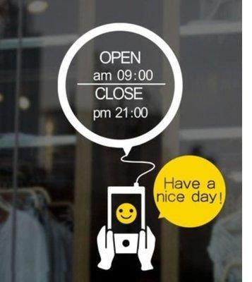 小妮子的家@笑臉手機營業時間壁貼/牆貼/玻璃貼/磁磚貼/汽車貼/家具