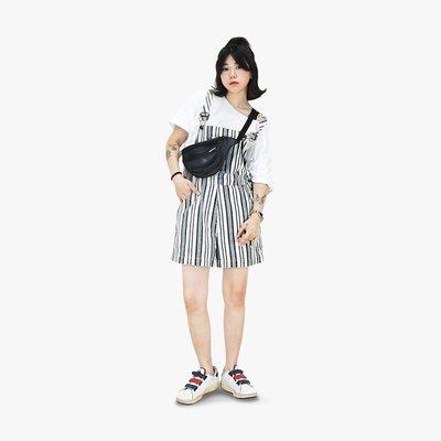 A‧PRANK :DOLLY :: 復古著VINTAGE 品牌BROOKER 鐵灰白 直條紋丹寧吊帶短褲