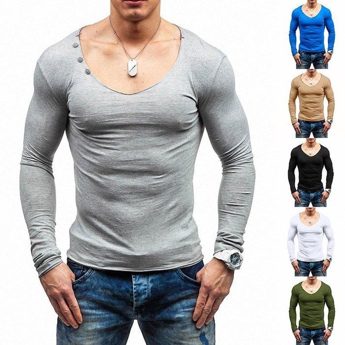 『潮范』  N4 外貿新款男士純色V領長袖T恤 素面T恤 打底衫 棉質T恤