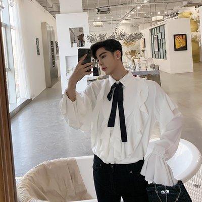 襯衫 韓版 復古宮廷風荷葉邊喇叭袖寬松慵懶襯衫男士韓版潮流發型師個性襯衣