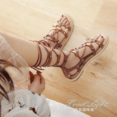 涼鞋海邊女平底鞋度假綁帶百搭網紅仙女風繫帶羅馬鞋
