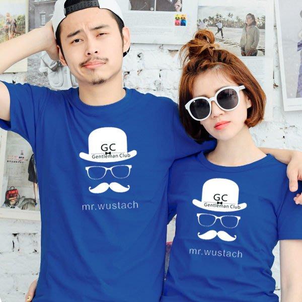 24小時快速出貨 情侶裝 純棉短T MIT台灣製 GC紳士帽子眼鏡鬍【YC283】情侶t 文青 可單買 班服