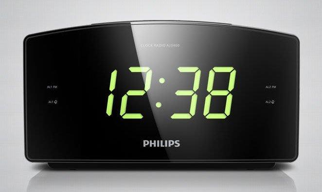 Philips/飛利浦aj3400時鐘 收音機 定時關機 雙鬧鐘 大屏幕,全新盒裝