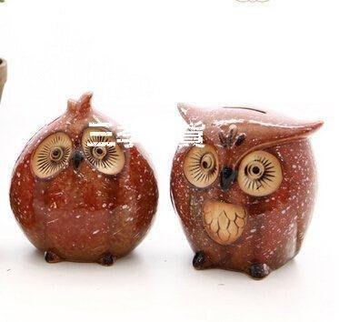 三季超萌貓頭鷹存錢罐創意時尚卡通陶瓷個性兒童小禮物裝飾擺件❖467