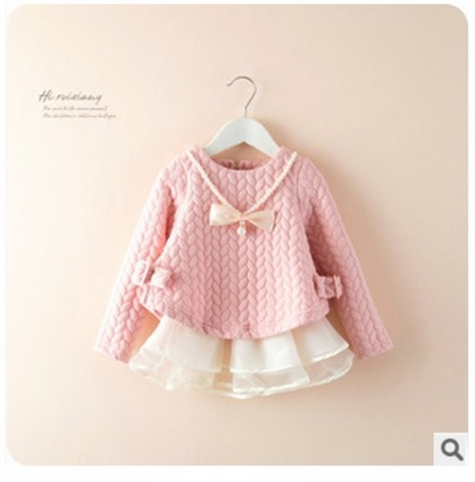 ❤厤庭童裝舖❤最後一件【E461】粉紅色空氣棉下擺蕾絲A字上衣(140CM)附項鍊
