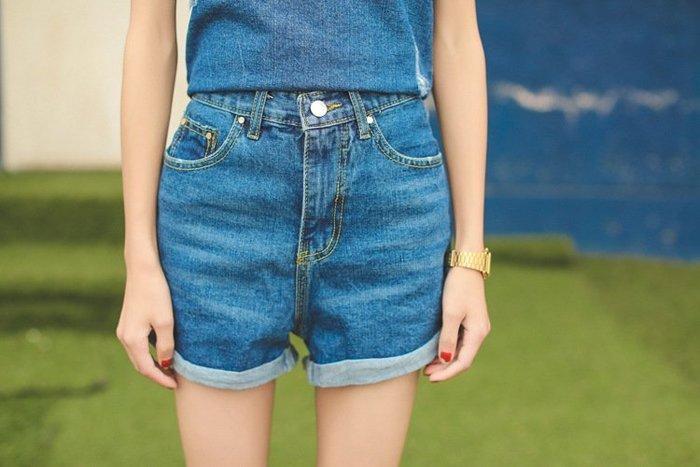 SeyeS 古著韓系時尚AA簡約牛仔短褲