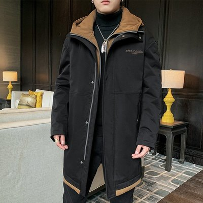 冬季保暖抗寒羽絨服男士輕薄羽絨服中長款2020年冬季新款潮流帥氣連帽男士棉衣