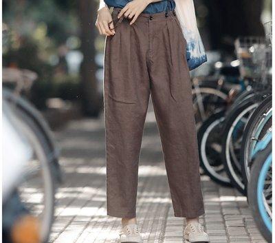   一品著衣   寫意摩卡吊帶褲 背帶可拆卸 兩穿 亞麻連身褲休閑小腳褲女率性直筒哈倫庫