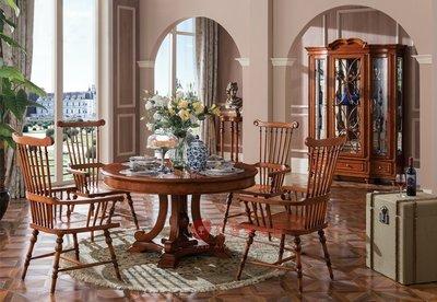 [紅蘋果傢俱] YHX301 美式 英式 仿古 圓桌 圓餐桌 桌子 餐櫃 間聽櫃 餐椅 酒櫃 實木雕刻