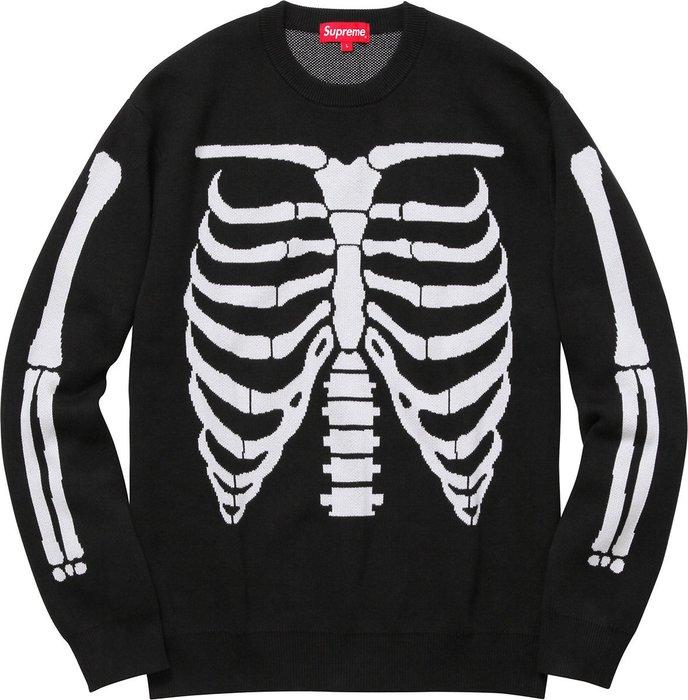 【超搶手】全新正品 2017 SS Supreme Bones Sweater 骷髏 毛衣 針織衫 黑色 M
