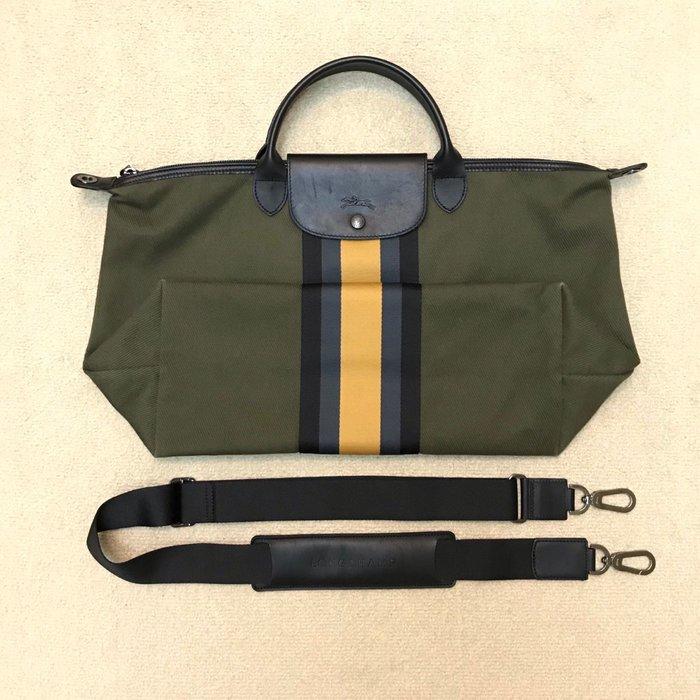 LONGCHAMP 墨綠條紋包
