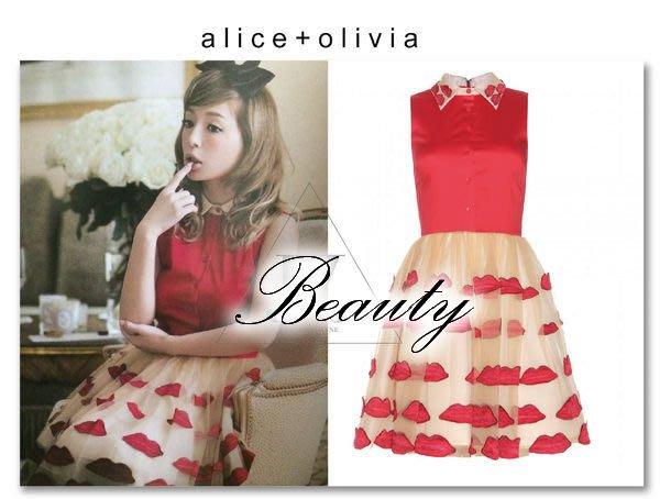 *Beauty*美國 alice + olivia 濱崎步著 紅+奶油米 紗質 紅唇 連身裙 洋裝 附吊牌 WE14