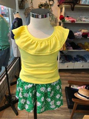 韓果子 正韓國 夏日檸檬黃搭絕配綠色雪紡裙褲