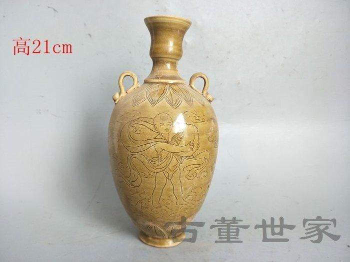 【聚寶閣】古董古玩瓷器老窯黃釉瓷瓶 sbh4678