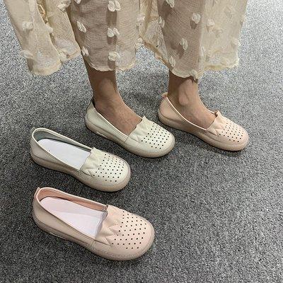 [日韓店購購]單鞋女2019夏季新款軟底舒適小白鞋平底豆豆鞋女洞洞鞋護士媽媽鞋