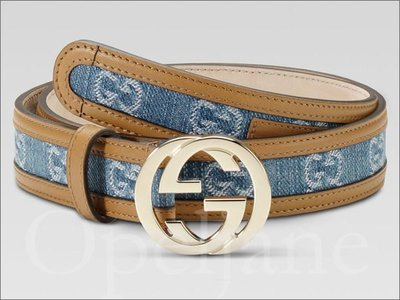 Gucci Belt 真品新款雙GG單寧布真皮邊釦環皮帶腰帶市價約15999 免運費 愛Coach包包