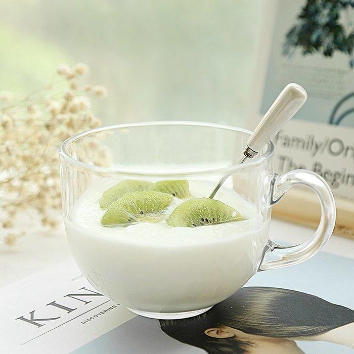 创意玻璃早餐杯圆嘟嘟大号把杯早餐牛奶杯酸奶花茶咖啡杯子 餐具 廚房用品