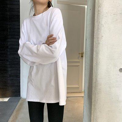 春夏2020黑色白色長袖T恤寬松打底衫上衣韓版純棉內搭純色學生女
