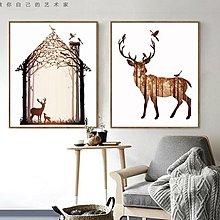 客廳裝飾畫北歐牆畫現代簡約臥室畫美式壁畫玄關餐廳掛畫麋鹿一家(18款可選)