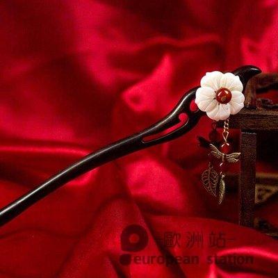 半島鐵盒 髮簪/黑檀木手工中國復古風古代古裝盤髮女生漢服古典髮飾髮釵