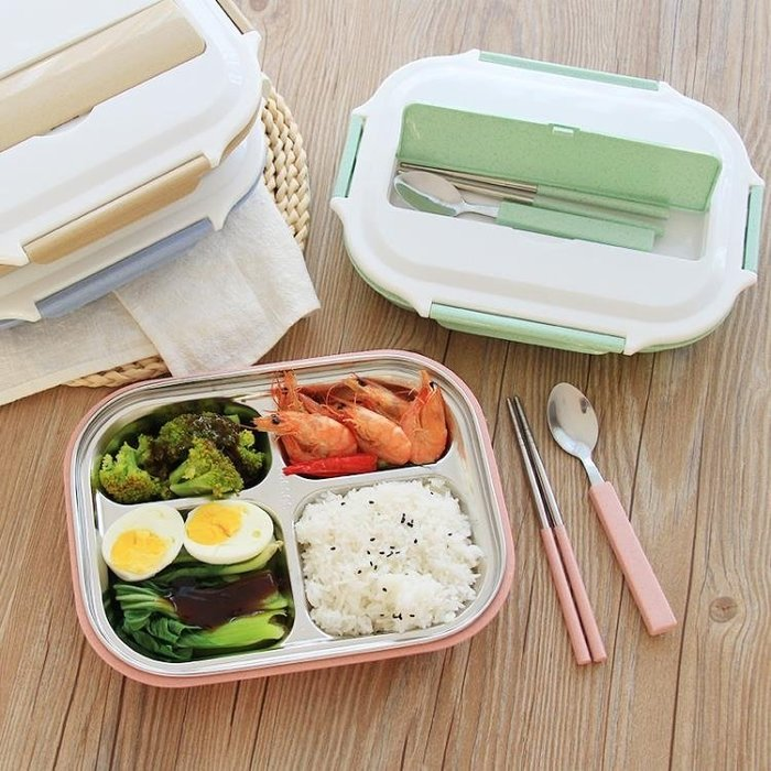 正韓304不銹鋼分格保溫飯盒兒童小學生帶蓋餐盒便攜成人便當餐盤