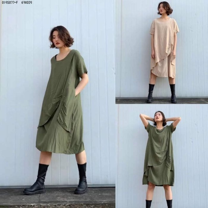夏季直條紋漸層洋裝 休閒洋裝  長版上衣 軍綠  杏色 現貨