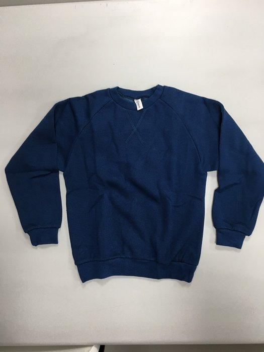 韓版 素色套頭棉T-藍色