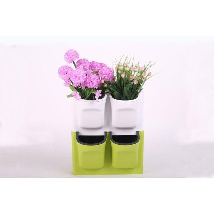 趣植園藝全新加厚塑料花盆 桌面掛壁花盆 疊加花盆植物背景牆