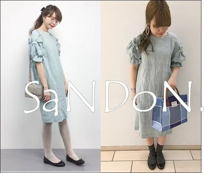 SaNDoN x『PEU PRES』八月秋季立體波浪花苞袖法國亞麻涼爽洋裝 ne-net ICHI 170810