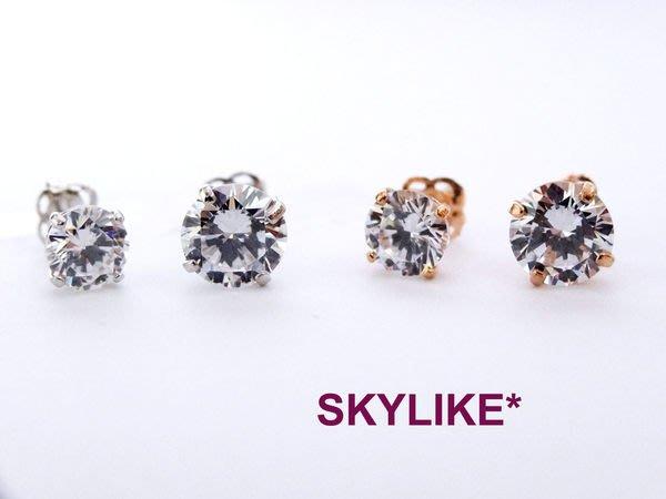 *SKYLIKE* 最可愛-韓國進口585/14K白K金單鑽四爪鑲1克拉鋯石耳針耳環,EJ-5345k