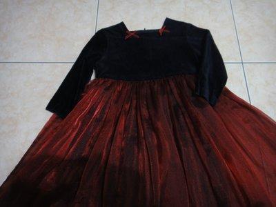 芳嘉二手小鋪~秋冬~安妮公主黑紅長袖禮服~110-120